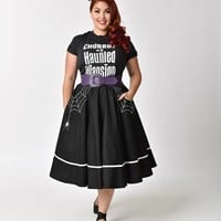 Hell Bunny Plus Size 1950s Style Black Miss Muffet Embroidered Swing Skirt