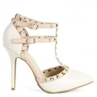 Stone Pointed Toe T-Strap Pumps Pyramid Studs