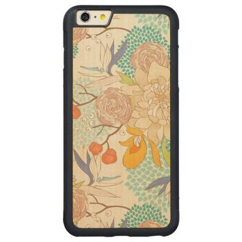 Modern Rose Peony Flower Pattern Carved® Maple iPhone 6 Plus Bumper
