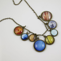 Solar System necklace,Space jewelry,universe necklace,uinverse jewelry,pendant necklace,statement necklace