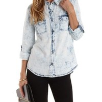 Acid Wash Denim Chambray Button-Up Top