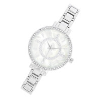 Womens Analog Crystal Metal Watch Silver