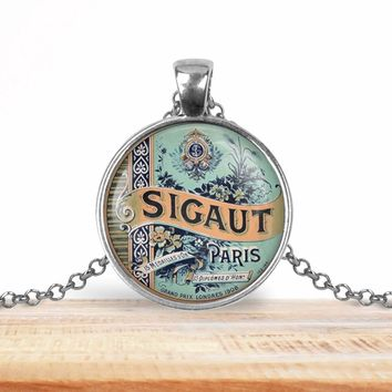 Vintage product label photo pendant - Sigaut Paris - francophile necklace