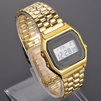 Vintage Womens Men Stainless Steel Square LED Digital Alarm Stopwatch Wrist Watch Free Shipping relogio masculino