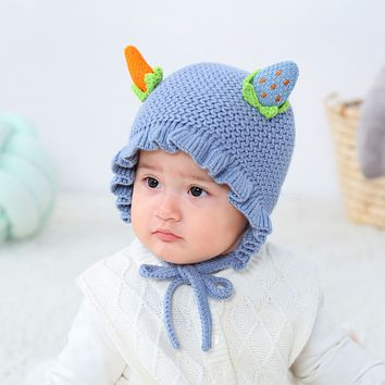Baby Pullover Hats Are Super Cute In Autumn And Winter. One Year Old Children Boys And Girls Keep Warm Strawberry And Carrot Knitted Hat