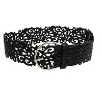 Allegra K Woman Hollow Out Flower Black Faux Leather Adjsutable Waist Belt