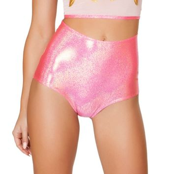 Pink Swirl Holographic High-Waist Rave Booty Shorts