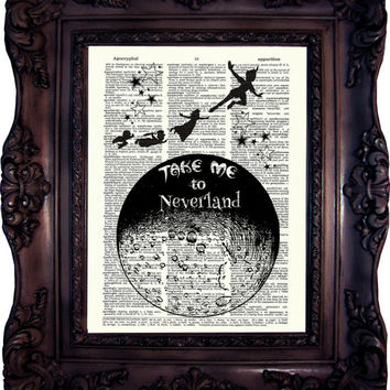Peter Pan Quote Print on Book Page Peter Pan and Fairy Peter Pan Neverland Peter Pan Print on Dictionary Page Peter Pan and Wendy C:640
