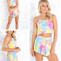 HOT COLORFUL TWO PIECE RAINBOW SUIT