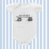 Just Roll with it Vintage Skateboard Baby Boy Onesuit by SimplyBaby