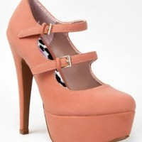 Qupid PENELOPE-04 Classic Double Strap Mary Jane High Heel Platform Stiletto Party Pump