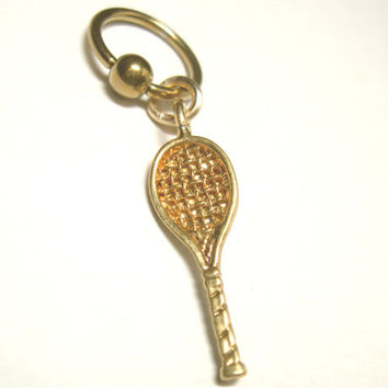 Navel Belly Button Ring Gold Tone Tennis Racquet Racket Captive Bead Naval
