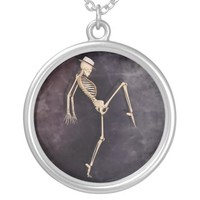 Gothic Dancing Skeleton Silver Plated Necklace