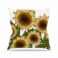 "Art Love Passion ""Sunflower Field"" Beige Yellow Outdoor Throw Pillow"