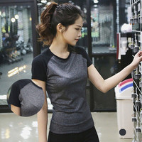 SIMPLE - Fashionable Women Mixed Color Slim Fit Short Sleeve Sport Suit Fitness Sportswear Stretch Exercise Yoga T-shirt b3988
