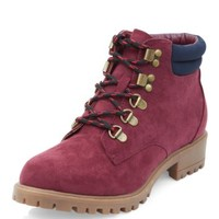 Teens Burgundy Contrast Trim Lace Up Hook Boots