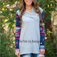 SIMPLE - Woman Fashionable Buttoned Neck Long Sleeve Shirt a10690