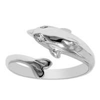 Sterling Silver Rhodium Plated Dolphin By Pass Style Adjustable Toe Ring