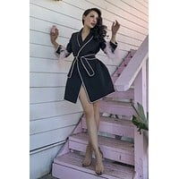 Le Palais Vintage - Ostrich Hair Sleeve Pajama Trench in Pink or Black!