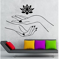 Lotus Wall Stickers Hands Spa Relaxation Yoga Zen Vinyl Decal Unique Gift (ig2414)