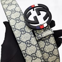 Gucci new fashion casual wild smooth buckle letter men's belt