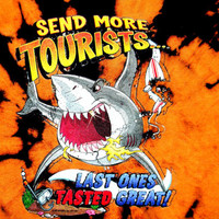 "Handmade Tie Dyed Novelty T-Shirt. ""Send More Tourists, Last Ones Tasted Great"" Shark Logo. Tie Dye. One of a Kind. OOAK Size S Small"