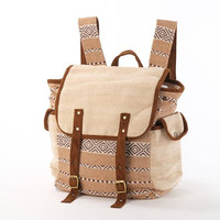 Wide Open Backpack, Diaper  Bag/ Ecofriendly Hemp and Ethno Woven Cotton/ Rustic, Folk, Minimalism