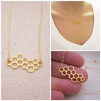 Honeycomb Gold Filled Necklace - Dainty Necklace - Everyday Jewelry - Simple Jewelry - Honey Comb Necklace - Bee Necklace
