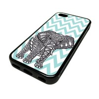 Apple iPhone 5C 5 C Case Cover Elephant Blue Chevron DESIGN BLACK RUBBER SILICONE Teen Gift Vintage Hipster Fashion Design Art Print Cell Phone Accessories