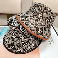 LV Louis Vuitton new letter presbyopia full print fisherman hat boys and girls casual hat