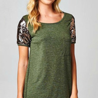 Sequin Short Sleeve Tunic Top - Evergreen