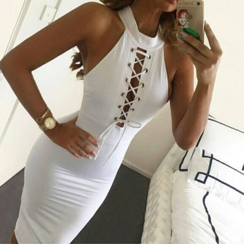 CUTE HOLLOW OUT SEXY VEST DRESS