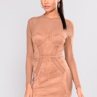 Can't Buy Me Love Suede Dress - Camel