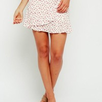 Ditsy Red Floral Ruffle Mini Skirt