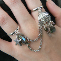 sand dollar double ring starfish slave ring sand dollar shells abalone in beach summer hipster boho gypsy hippie and pirate  style
