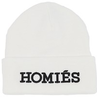 White Homies Beanie with Black Embroidery, Kylie Jenner IN THE Brian Lichtenberg HOMIES BEANIE