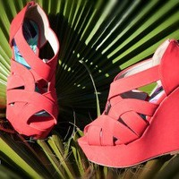 Qupid Finder-145x Strappy Cutout Peep Toe Wedge (Coral) - Shoes 4 U Las Vegas