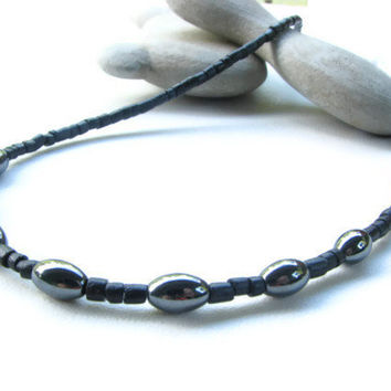 Mens Hematite and Black Coconut Necklace Minimalist Mens Beaded Necklace