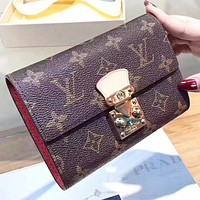 LV Louis Vuitton women new fashion tartan monogram Leather wallet purse