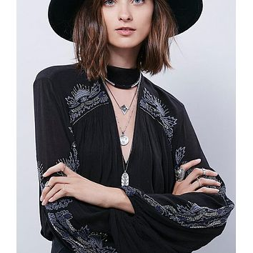 Women's Lantern Sleeve V-neck Loose Embroidered Top Blouse