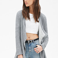 FOREVER 21 Heathered French Terry Cardigan Heather Grey