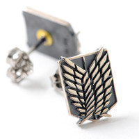 Attack on Titan Survey Corps Coat of Arms Silver Earrings