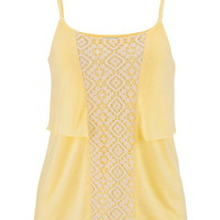 Lace Front Tiered Tank Top