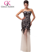 Special Offer! Free Shipping 1pc/lot Grace Karin Ivory/Black/Red Long Lace + Tulle Elegant Evening Gown Dress CL6043