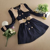 New Korean Slim Womens Fashion Double-beasted Coat Dress(Belt Included)