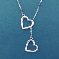 Double, Heart, Lariat, Silver, Necklace, Two, Hearts, Love, Valentine, Birthday, Best friend, Mom, Gift, Accessory, Jewelry