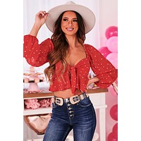 Love Me Like You Mean It Tie Front Crop Top (Red-White Hearts)