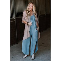 Whatever It Takes OOTW Jumpsuit and Kimono Set - Blue