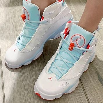 Bunchsun Air Jordan 6 Rings Trending Women Sport Basketball Shoes Sneakers White&Blue
