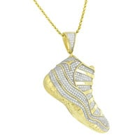 Basketball Retro Shoes Chain Gold Over Sterling Silver